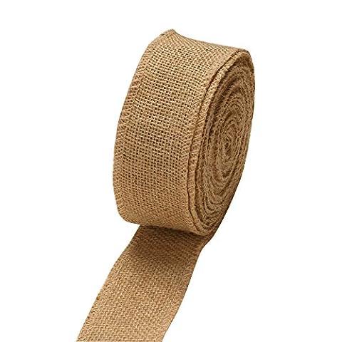 Vlovelife 2'' Wide 10yards Natural Burlap Roll Fabric Rustic Pure Jute Burlap Hessian Table Runner Tape Ribbon Trims Bow - Bow Tape