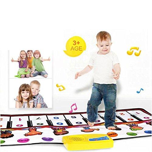 Play Mat Toy,Kids Floor Piano Mat,Musical Dance Carpet Interactive Gameler Girls Boy 1 2 3 4 5 6 Years Old,100×40CM (Multicolor) ()