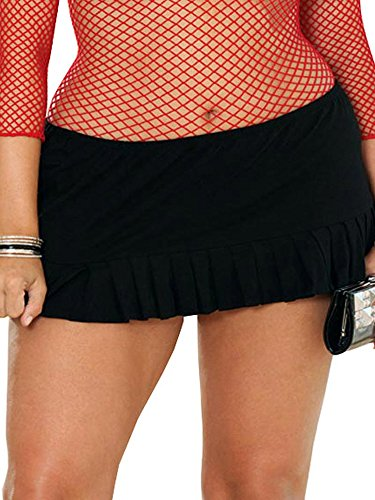 Lycra Pleated Mini Skirt - Black Pleated Micro Mini Skirt (1x/2x)