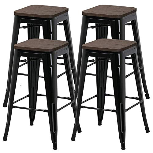 Yaheetech 26inch barstools Set of 4 Counter Height Metal Bar Stools, Indoor Outdoor Stackable Bartool Industrial with Wood Seat 331Lb, Black (Barstools 26)