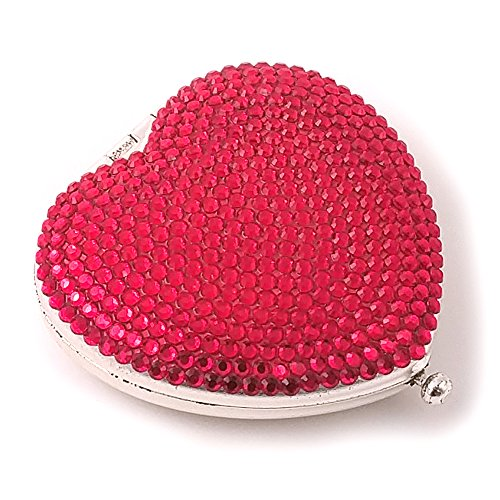 Speert 9268 Crystal Heart Personal Pocket / Purse Mirror in Silver & Red
