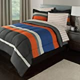 7pc Boys Rugby Stripes Pattern Comforter Queen Set Sheets, Vibrant Orange Blue Grey, Sports Striped Theme, Polyester Cotton, Horizontal Sporty Lines Design, Unisex