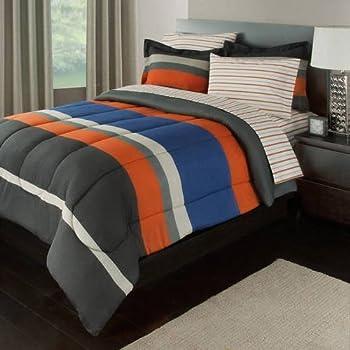 Amazon Com 3 Piece Twin Xl Orange Olive Green Striped