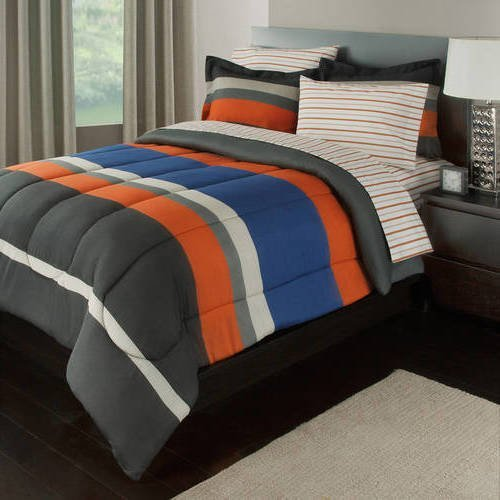5pc Boys Rugby Stripes Pattern Comforter Twin Set Sheets, Polyester Cotton, Unisex, Vibrant Orange Blue Grey, Sports Striped Theme, Horizontal Sporty Lines Design