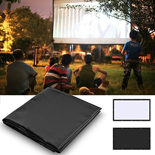 Zerone Projection Screen 16:9 HD Foldable Anti-crease Portable PVC Projector Movies Screen for Home Theater Outdoor Indoor with Carrying Bag(100inch) (Bag 100% Computer Pvc)