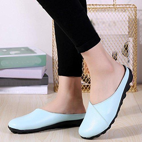 Fheaven Femmes Solides Chaussures Souples Doux Slip-on Casual Bateau Chaussures Mocassins Pantoufle Ciel Bleu