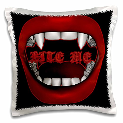 3dRose pc_155604_1 Bite Me Vampire Goth Fangs Mouth Design on Dark Background Pillow Case, 16