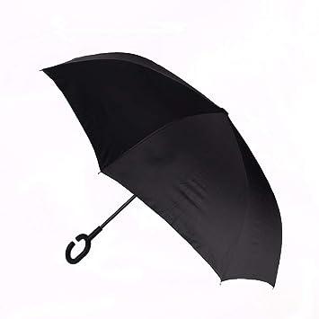 Lanker KS01P - Paraguas invertido, Resistente al Viento, protección UV, Paraguas Recto Grande