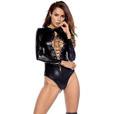 1c5020dd87f9b7 AMhomely Sexy Frauen PU Leder Dessous Bodysuits Erotische Trikot ...