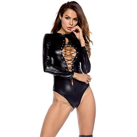 AMhomely Sexy Frauen PU Leder Dessous Bodysuits Erotische Trikot Kostüme Gummi Flexible Hot Latex Catsuit Catwomen Kostüm
