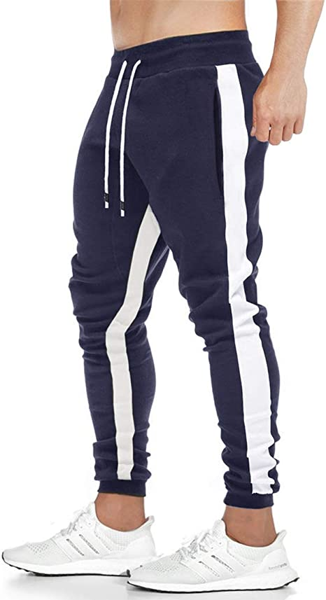 EKLENTSON Hombres Jogger Pantalones Casuales Stripe Pantalones ...