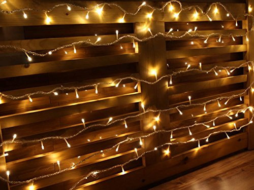 String Lights Qatar : 25FT Warm White 100 LEDs Battery Operated Outdoor and Indoor Extendable String Lights with 8 ...