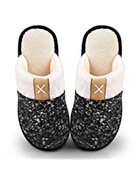Women's Cozy Durable Slippers,Fuzzy Wool-Like Plush Fleece Lined House Shoes w/Indoor,Outdoor Anti-Skid Rubber Sole