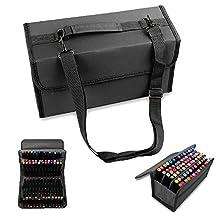 LANIAKEA 80 Slots Marker Pen Wallet Case Storage Bag Box with Handle Carrying Lipstick Organizer Holder for Primascolor Marker and Copic Sketch Marker, Permanent Paint Marker, Dry Erase Marker, Repair Marker Pen, Color Highlighter (Black)