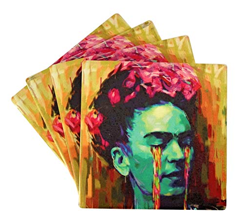 (Cultural Dream Drink Coasters Set of 4 – Frida Kahlo, Moisture Absorbing Ceramic Coasters with Cork Base, Tabletop Protection for Any Table type, Living Room Decorations, Cool Gift Ideas)