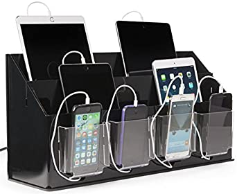 Displays2go, Tabletop iPhone Charging Kiosk, Acrylic, Rubber Construction – Black Finish, Clear Compartments (TTCHG10BK)