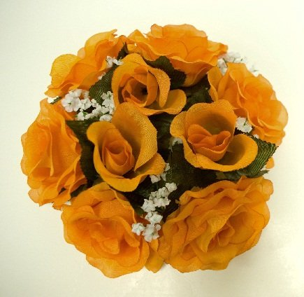 - 3 Candle Rings Roses Center Pieces Artificial Silk Flowers 4005 Orange
