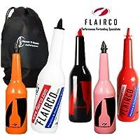 Flairco Original Flair Bottles + Flames N Games Travel Bag! Shatterproof Bartending Specialist Bottles. (Orange)