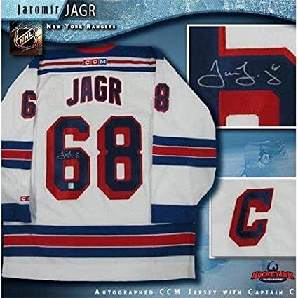 ec44e9108 Image Unavailable. Image not available for. Color  Jaromir Jagr Signed  Jersey - White CCM - Autographed NHL Jerseys