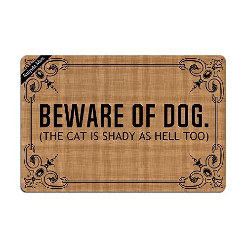 Ruiyida Mats Beware Of Dog The Cat Is Shady As Hell Too Doormat Entrance Floor Mat Funny Doormat Door Mat Decorative Indoor Outdoor Doormat Non-woven 23.6 By 15.7 Inch Machine Washable Fabric Top (Mat Dog Personalized)