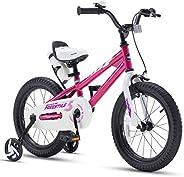 RoyalBaby Kids Bike Boys Girls Freestyle Bicycle 12 14 16 inch with Training Wheels,16 18 20 inch with Kicksta