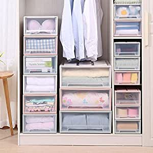 ESUPPORT Stackable Box Chest Plastic Transparent Drawer Unit Organizer Wardrobe Storage Boxes, Large/Beige