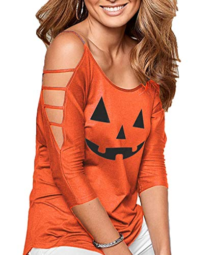 (DREAGAL Women's Halloween Printing Tops Summer Lightweight Cold Shoulder Blouse Shirt)