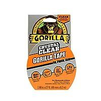 """Cinta adhesiva transparente de Gorilla Crystal, 1.88 """"x 9 yd, transparente, (paquete de 1)"""