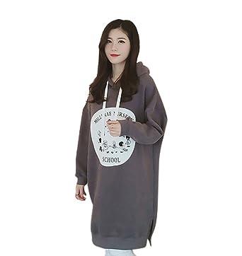 Landove Sweat Robe de Sport Femme Mode Casual Pull a Capuche et Poche  Chemise Manche Longue Sweatshirt Imprimé Lettre Tunique Automne Hiver  Blouse Pullover ... ad92fd7503e