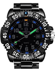 Gosasa Tritium Luminous Mens Watches Rotatable Bezel Quartz Waterproof Military Sports Watch