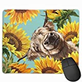 Highland Cow with Sunflowers in Blue Mouse Pad Non-Slip Rubber Base Gaming Mousepad for Office Computer Laptop