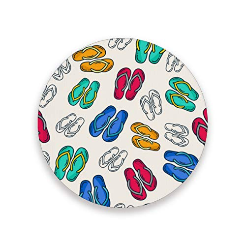 Ceramic Coaster 1 Piece Absorbent Coaster with Protective Cork Base Colorful Flip Flops Coasters for Drinks Coffee Mug Glass Cup Place Mats Home Decor Style