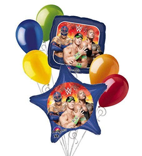7 pc WWE John Cena The Rock Stars Balloon Bouquet Party Decoration Wrestling Boy by Jeckaroonie Balloons