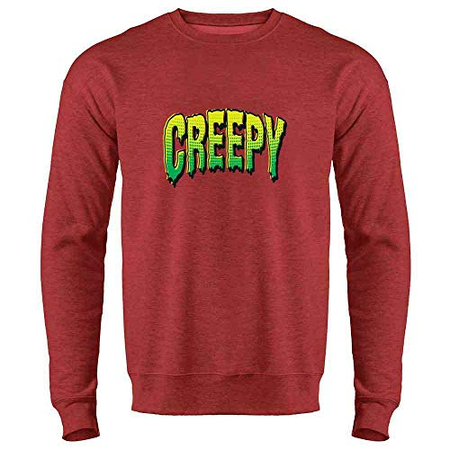 Pop Threads Creepy Retro Comic Text Halloween Costume Horror Heather Red 2XL Mens Fleece Crew -