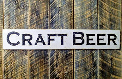 """Craft Beer Sign 47""""x8"""" Carved in Wood Distressed Paint Brewery Bar Microbrewery Restaurant Tap House Wooden"""