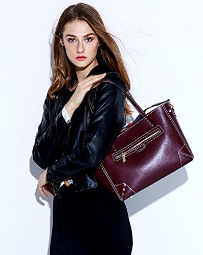 bolsos de Negro Genuina Shoppers SAIERLONG Nueva Mujer hombro Negro y Piel 8g0wZRq