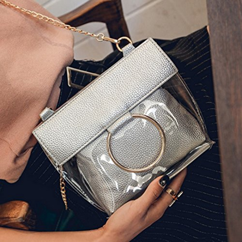 Clear Bags Beach Messenger Bags Handbags Women Crossbody Meliya Mini Transparent Bags Silver Clutch Shoulder Silver Color nYqwnTSB