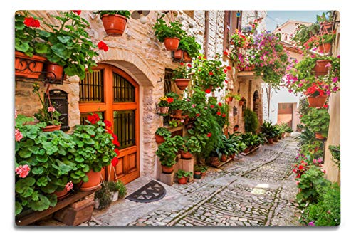 Lantern Press Umbria, Italy - Street Scene in Small Italian Town - Photography A-91554 (12x18 Aluminum Wall Sign, Metal Wall Decor Ready to Hang) -