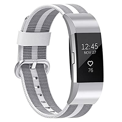 For Fitbit Charge 2 Bands, SnowCinda Premium Woven Nylon Adjustable Replacement Strap with Metal Connector for Fitbit Charge 2 Women Men