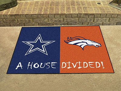Broncos House Divided Decor Area Rug 34 x 42 Nfl Area House Rugs
