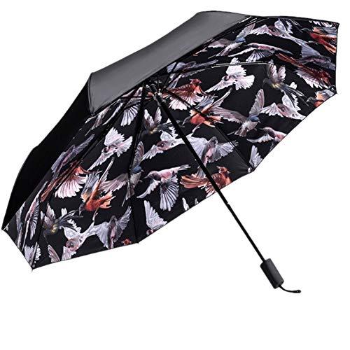 4Truth Sun Umbrella Folding, Women UV Waterproof Umbrellas Protection Digital Printing, Ladies Creative Triple 190T Parasols 8 Bones Parasol (Black)