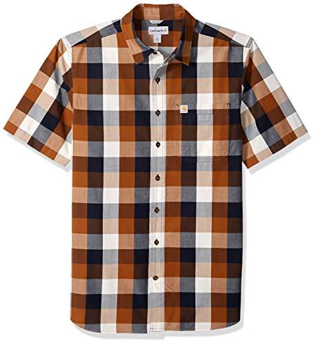 Carhartt Men's Big and Tall Big & Tall Essential Plaid Open Collar Short Sleeve Shirt, 211-Carhartt Brown, 3X-Large