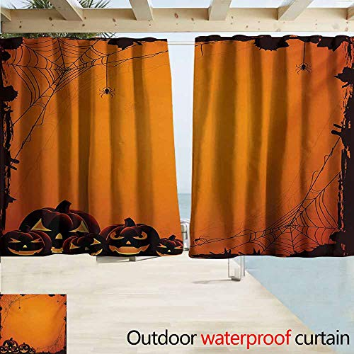 AndyTours Rod Pocket Curtains,Halloween Grunge Spider Web Jack o Lanterns Horror Time of Year Trick or Treat Print,Darkening Thermal Insulated Blackout,W63x72L Inches,Orange Seal -