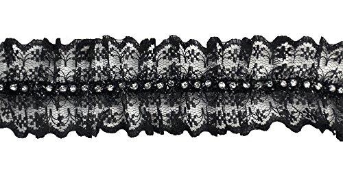 Belagio Enterprises 1-3/4-inch Gathered Rhinestone Lace Trim 10-Yard, Black