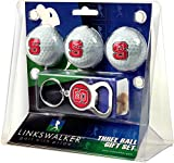 LinksWalker NCAA North Carolina State Wolfpack - 3 Ball Gift Pack with Key Chain Bottle Opener