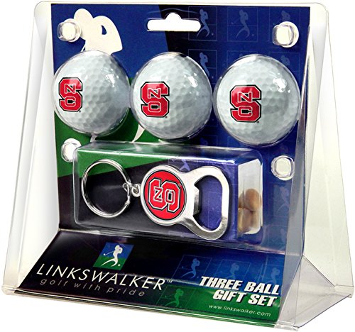 NCAA North Carolina State Wolfpack - 3 Ball Gift Pack with Key Chain Bottle Opener ()