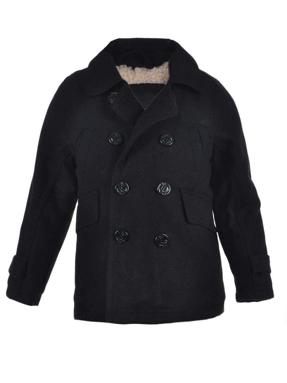 Urban Republic Big Boys' Wool Peacoat - Black, 10-12 by Urban Republic (Image #1)