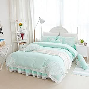 Sisbay Vintage Embroidery Lace Bedding Queen Mint Green,Girls Fashion Plain Duvet Cover Bed in a Bag,Shabby Chic Bed Skirt Pillows,7pcs