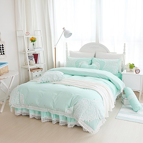 Amazon.com: Sisbay Vintage Embroidery Lace Bedding Queen Mint Green,Girls  Fashion Plain Duvet Cover Bed In A Bag,Shabby Chic Bed Skirt Pillows,7pcs:  Home U0026 ...
