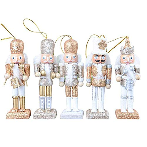 Katoot Christmas Nutcracker Ornaments Set, Wooden Nutcracker Figures Soldier Puppet Toy for Christmas Themed Party Outdoor Yard Tree Hanging Decorations, 12CM (Color 2) -